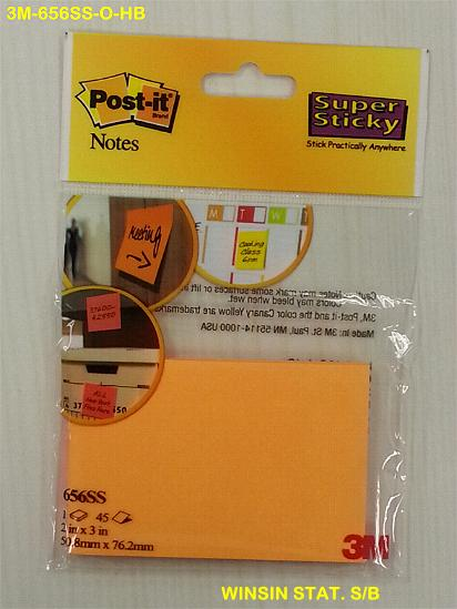 3M  POST-IT PAD 656 45s X 2 SUPER STICKY 2 X 3 INCHES ORANGE NEON