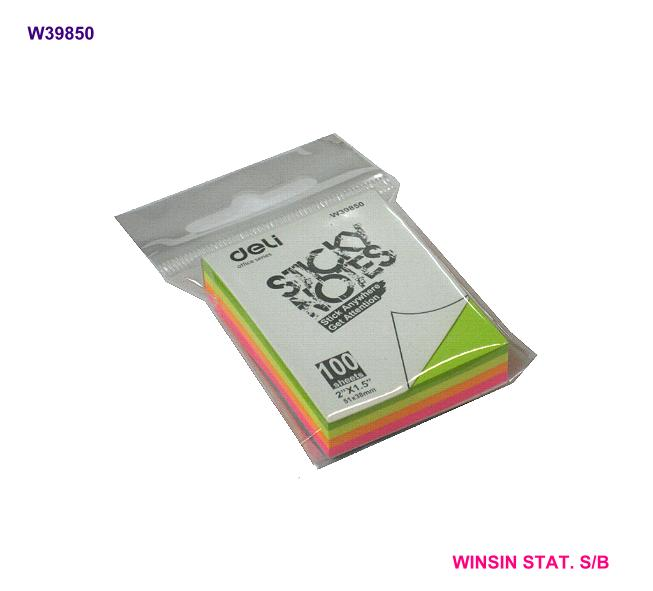 DELI STICKY NOTES (2 X 1.5)INCH 51x38mm NEON ASST.100shts
