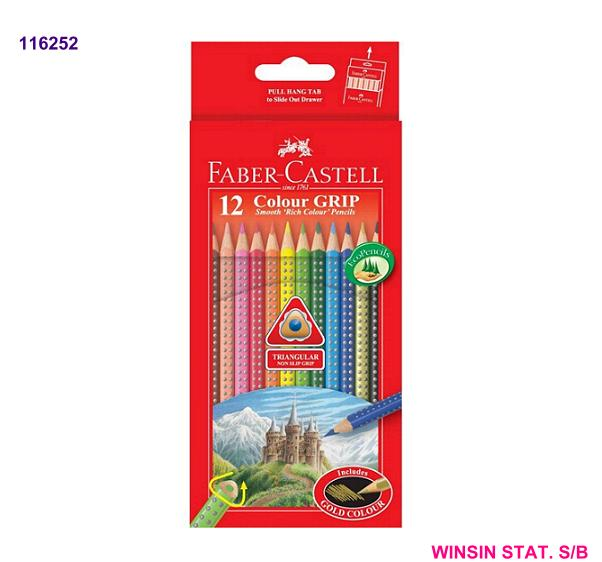 FABER-CASTELL COLOUR GRIP COLOUR PENCIL 12s