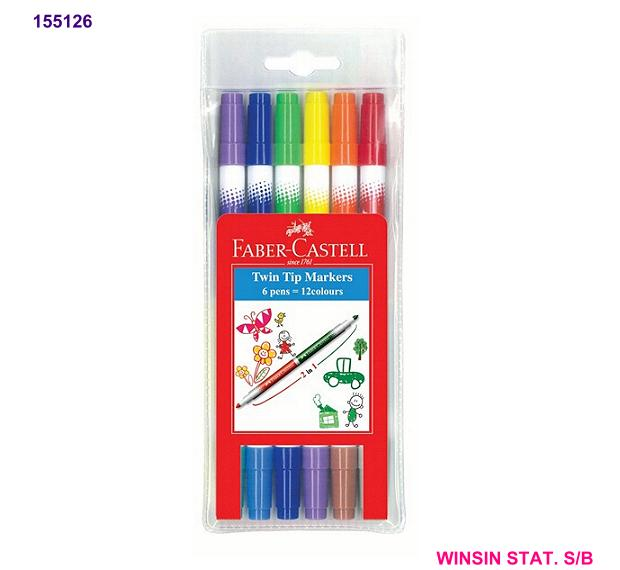 FABER-CASTELL TWIN TIP 12 COLOUR MARKER (MAGIC COLOUR)