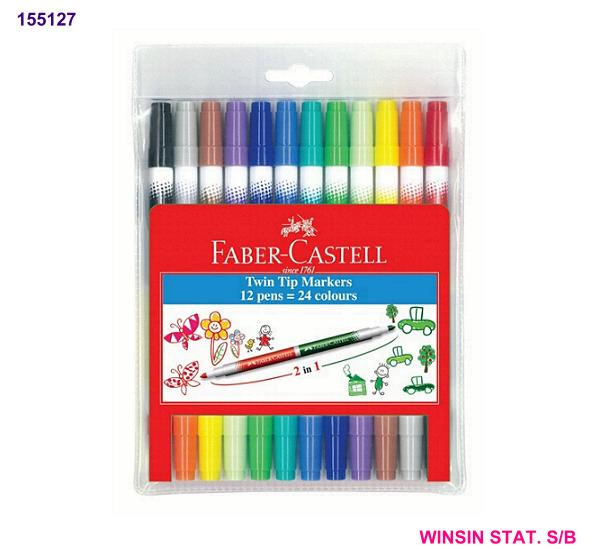 FABER-CASTELL TWIN TIP 24 COLOUR MARKER (MAGIC COLOUR)