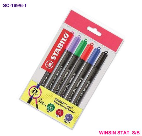 SCHWAN STABILO CAPPI PERMANENT MARKER X 6 ASSORTED COLOUR