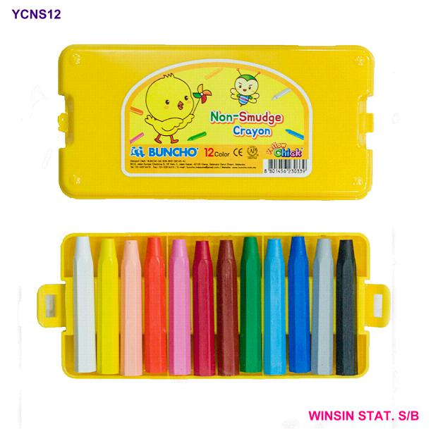 BUNCHO YELLOW CHICK CRAYON NON-SMUDGE 12 COLOURS