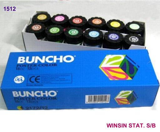 BUNCHO POSTER COLOUR 15cc ASSORTED COLOUR (12BTLS)