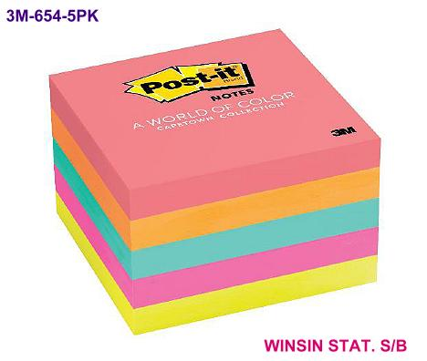 3M  POST-IT PAD 654 NEON 3 x 3 INCH 5s CUBE CAPETOWN <24>
