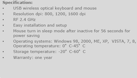 VERBATIM WIRELESS KEYBOARD & MOUSE COMBO2.4GHZ, SWITCHABLE DPI <20>