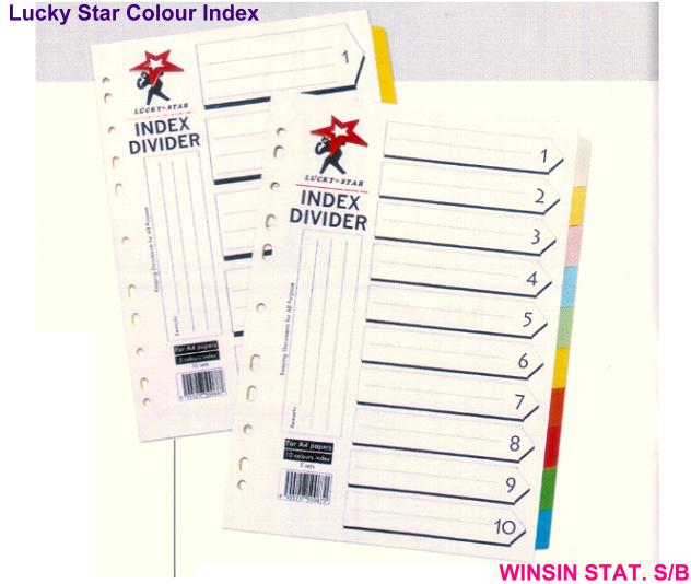LUCKY STAR A4 10 COLOURS INDEX DIVIDER 5 SETS/PKT <28>
