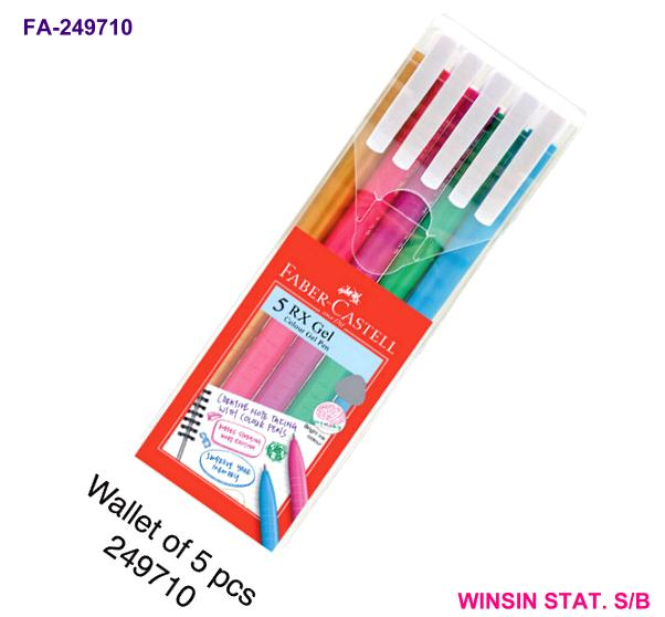 FABER-CASTELL RX COLOUR GEL PEN 0.7 RETRACTABLE 5 COLOUR/WALLET<12>