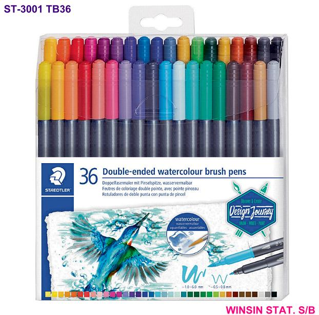 STAEDTLER DOUBLE-ENDED WATERCOLOUR BRUSH PENS 0.5-6.0mm 36pc/box <6>