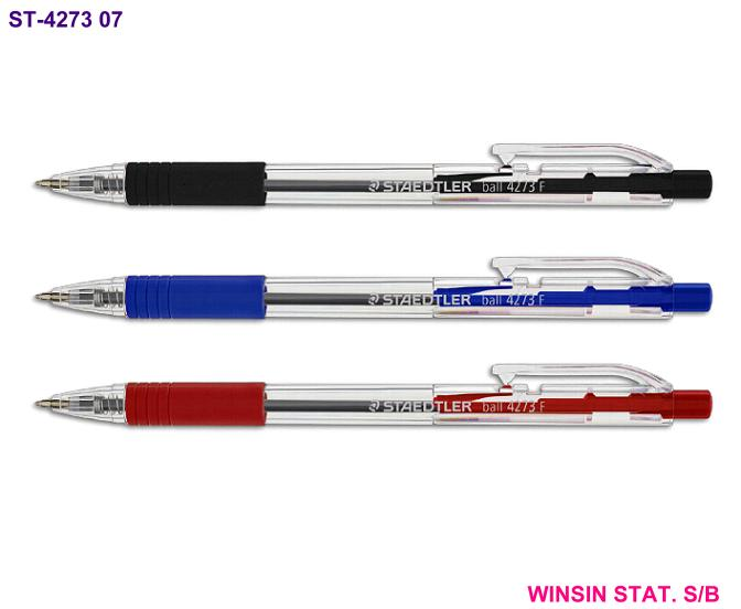 STAEDTLER RETRACTABLE BALL PEN 4273 F 0.7mm WITH GRIP <10>