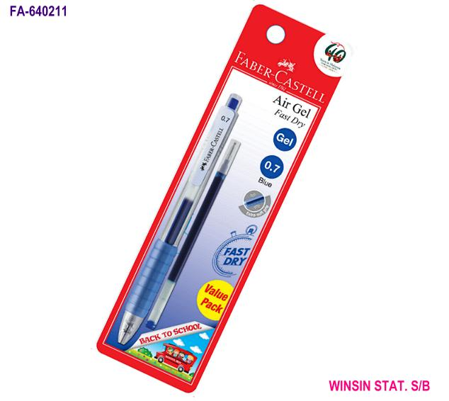 FABER-CASTELL AIR GEL BALL PEN 0.7 BLUE RETRACTABLE with Refill VALUE PACK <10-120>